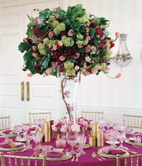 Centerpieces for round tables in different styles