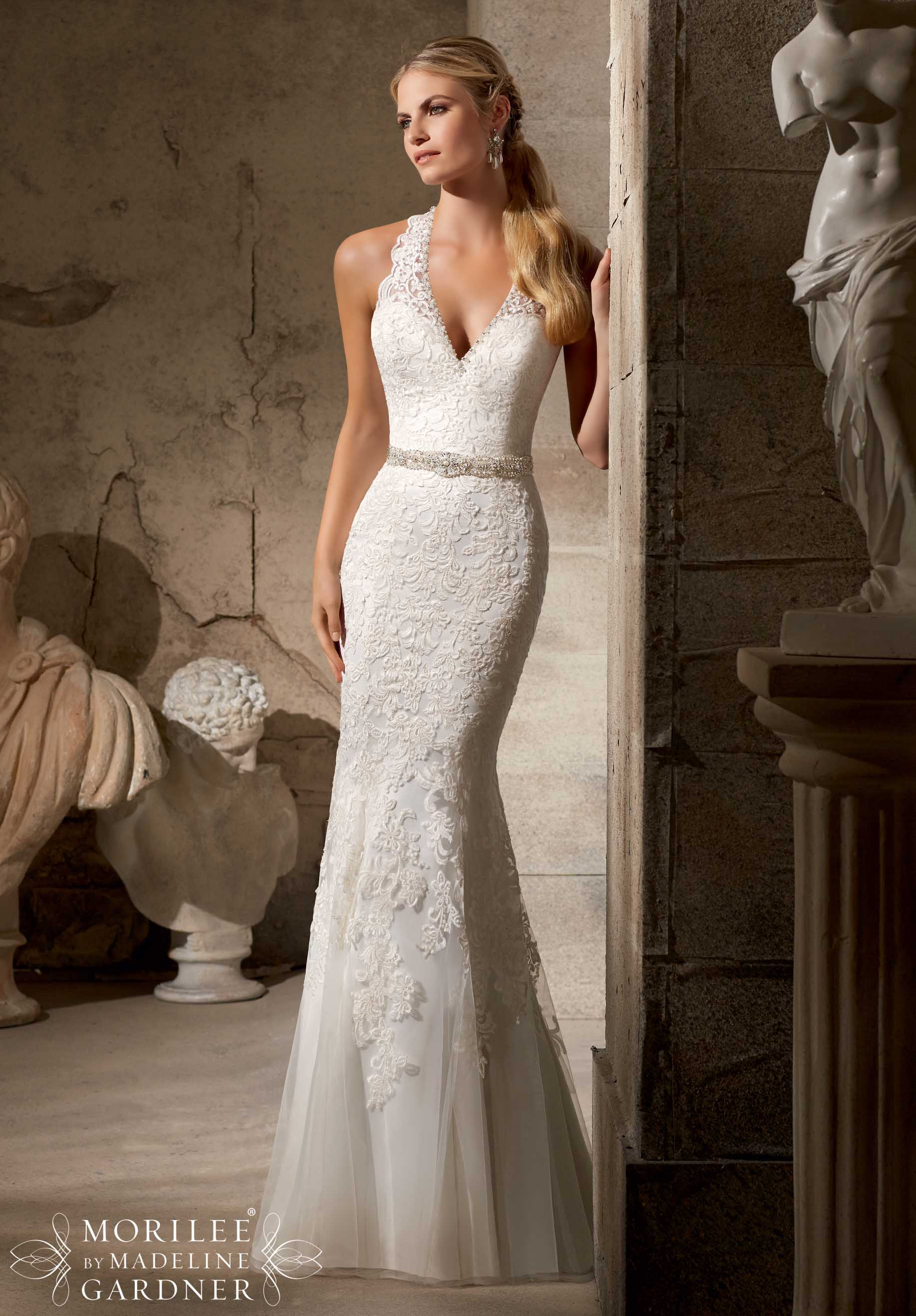 20 best choices of sheath wedding dress everafterguide for Wedding dresses halter style