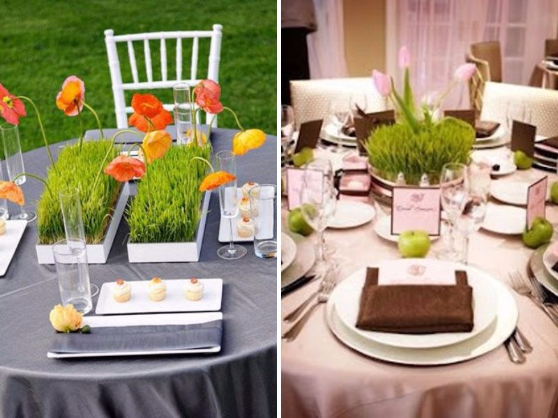 28 centerpieces for round tables in different styles for Quick and inexpensive wedding decorations