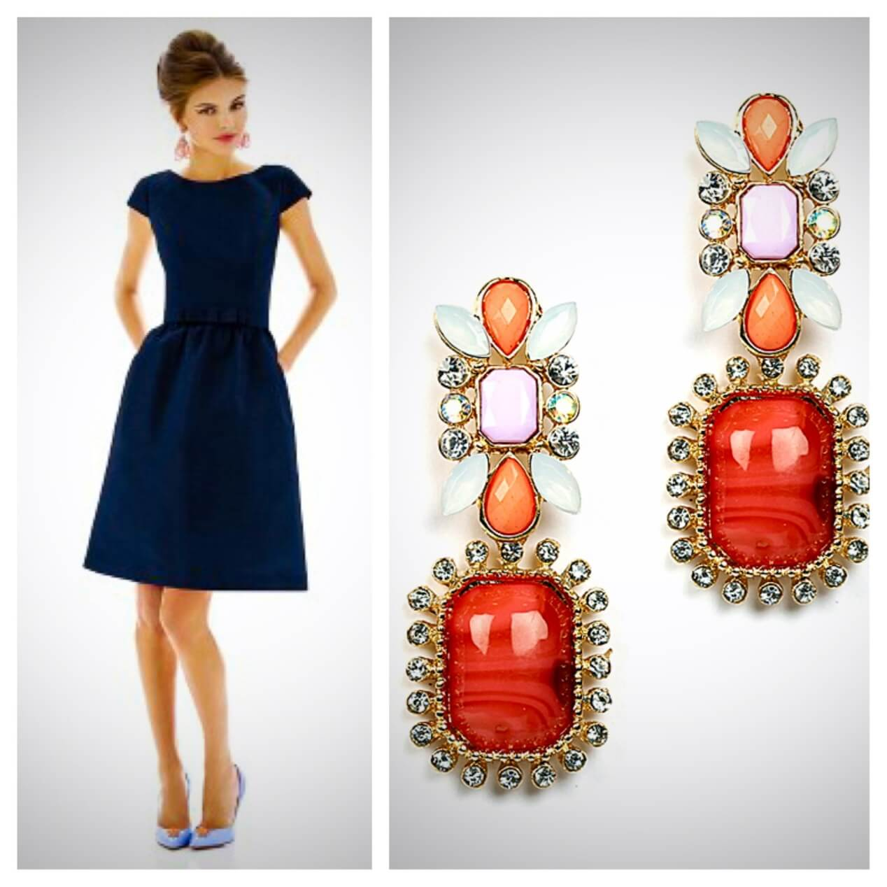 What color jewelry goes with navy blue dresses for What color shoes to wear with black dress to wedding