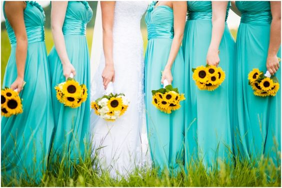 For Bridesmaid 39 S Dresses You Can Go C Or Aqua Both If Want To Give Gowns A More Non Traditional And Sun Kissed Look Yellow Short