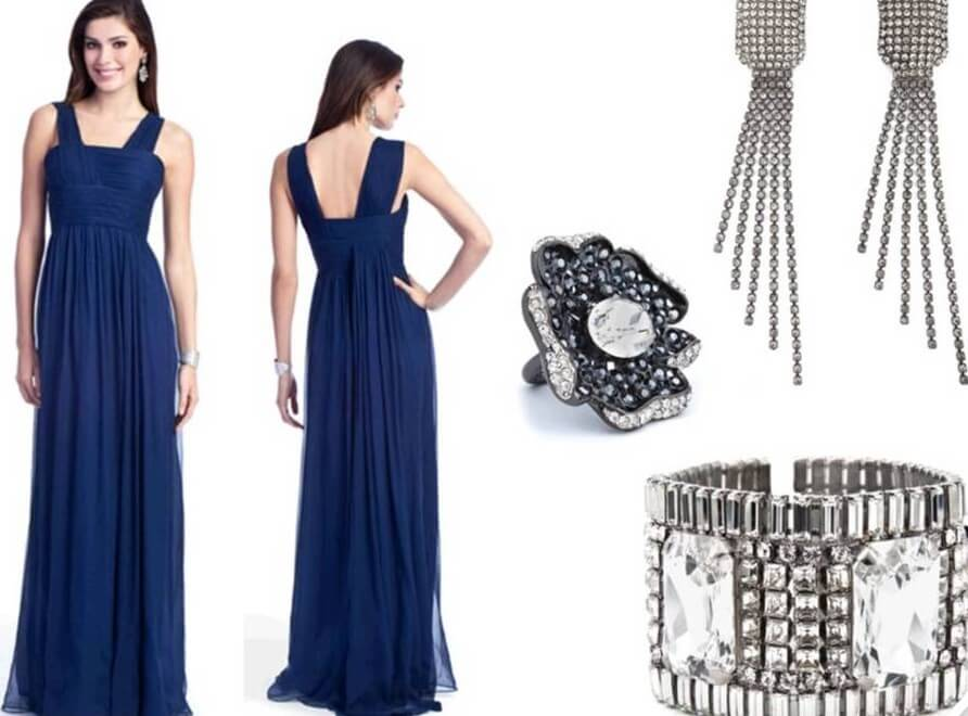 What color jewelry goes with navy blue dresses for How to accessorize a navy blue dress for a wedding