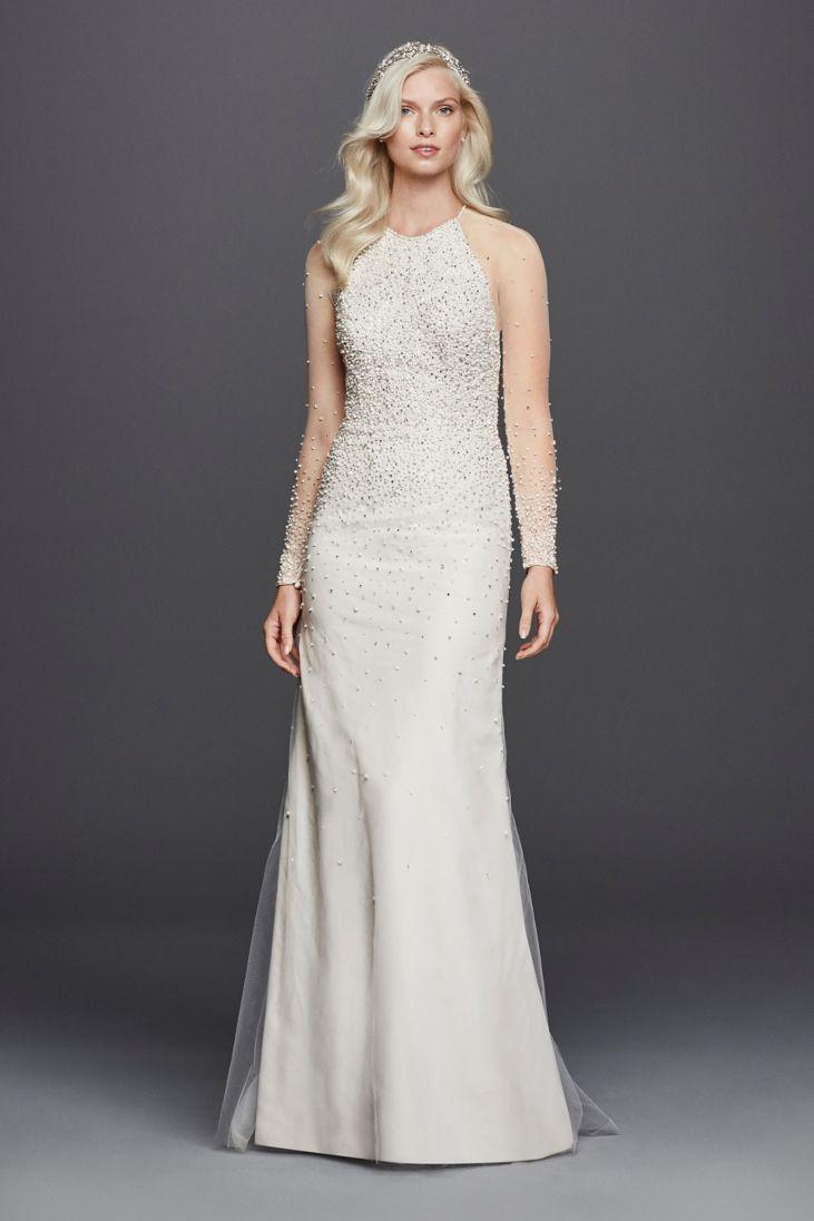 wedding dress long sleeves high neck turtleneck wedding dress High Neck Illusion Long Sleeve Dress