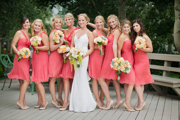 Coral Bridesmaid Dress With Silver Shoes