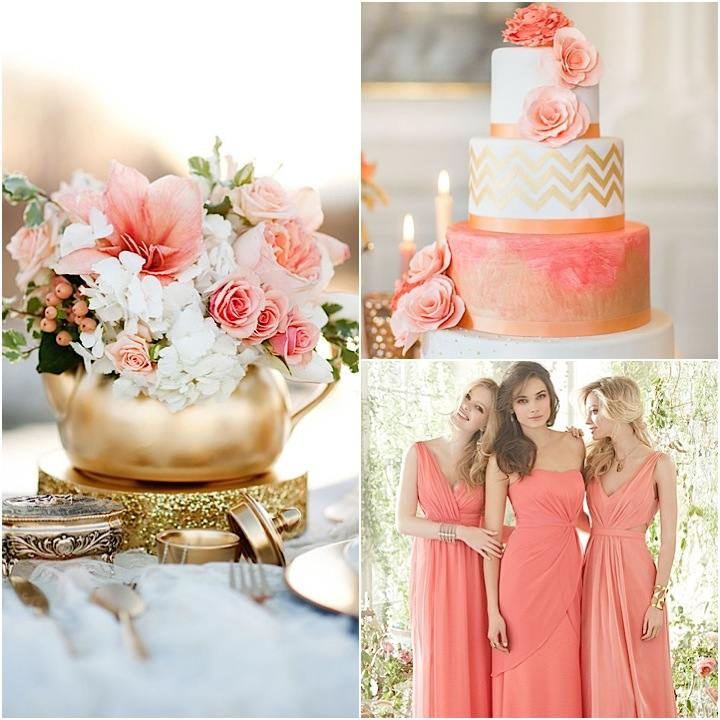 Gold Wedding Cake Decorations: 11 Best Colors That Go With Coral