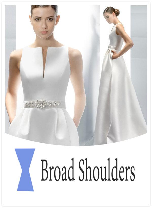 Wedding dresses for broad shoulders everafterguide for Best wedding dress for big hips