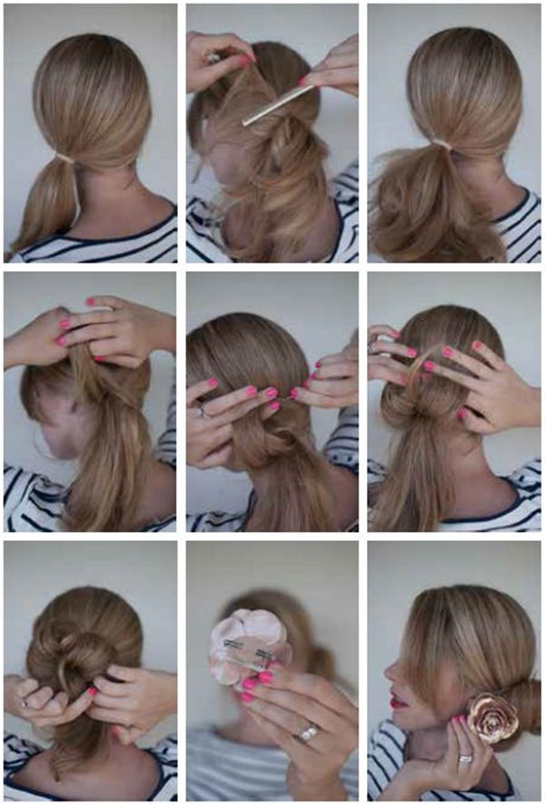 hair style step by step bun hairstyles with pictures within 5 steps 7325
