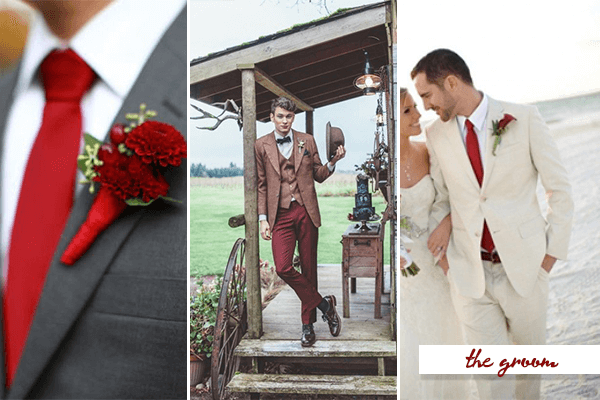 I 39 M Not Suggesting Red Suits Just Details Like The Ties Vest Or Pants Look How Cute Those Groomsmen In