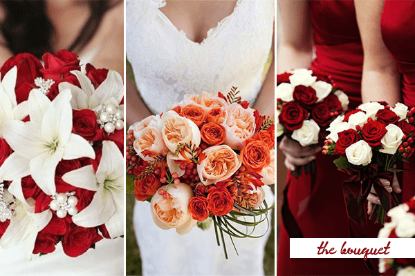 Red And White Wedding Flowers On With 18