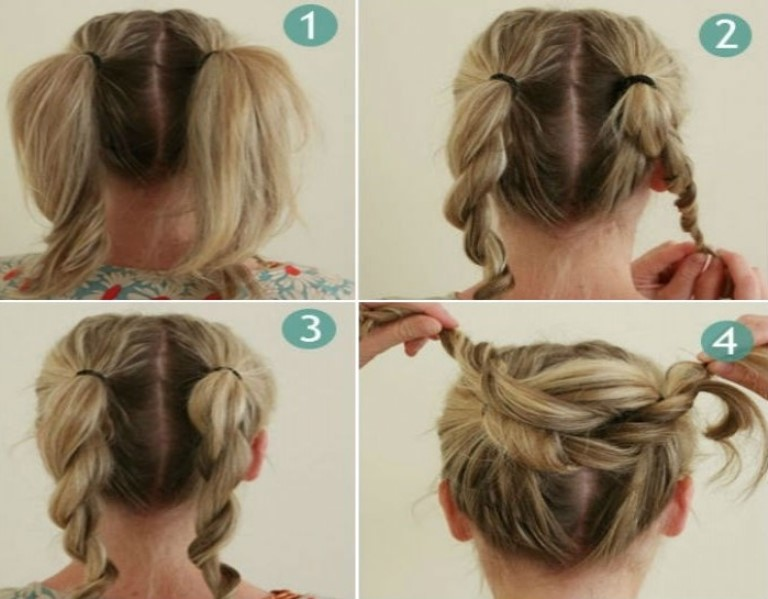 New Easy Hairstyles For Medium Hair Step By Bun With Pictures