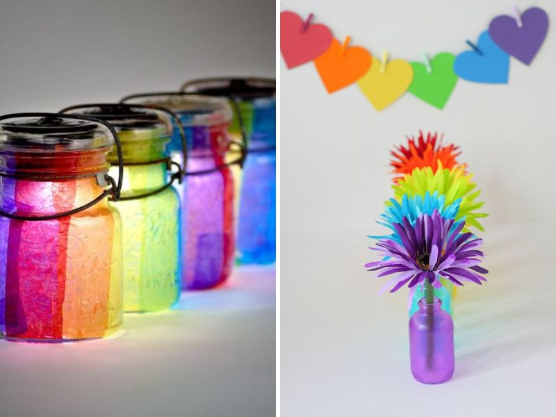 33 best ideas for rainbow wedding decorations everafterguide for Colored bottles for decorations