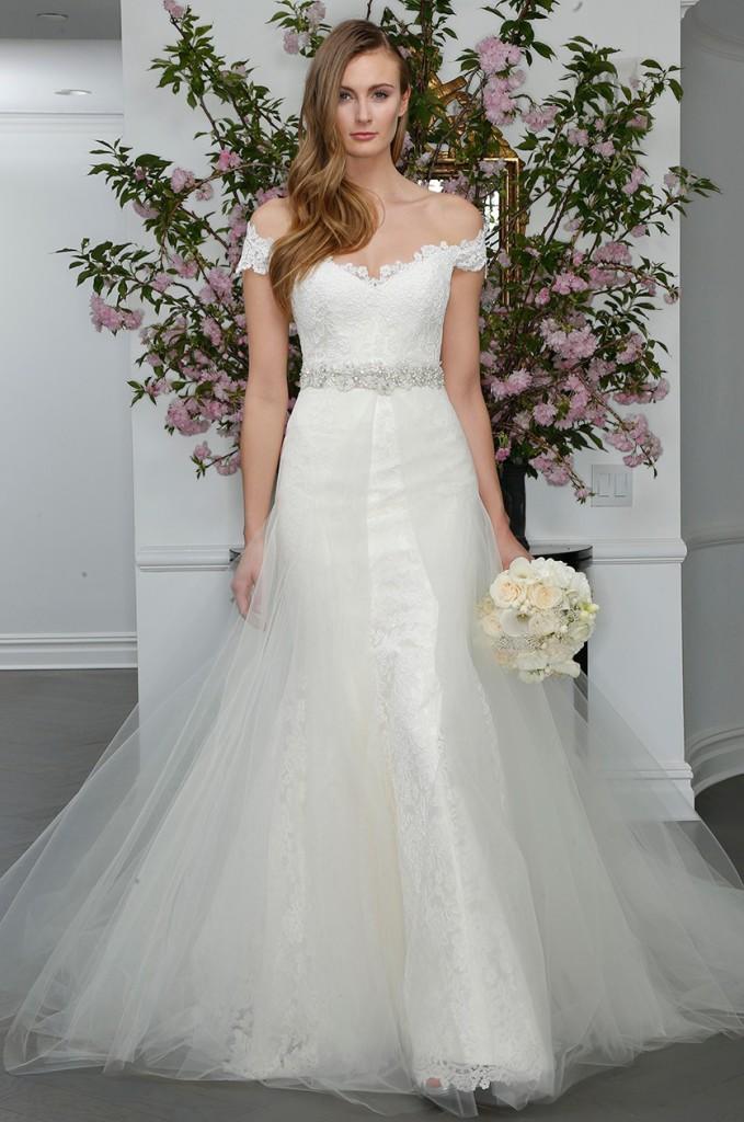 26 best off the shoulder wedding dresses everafterguide for Off the shoulder satin wedding dress