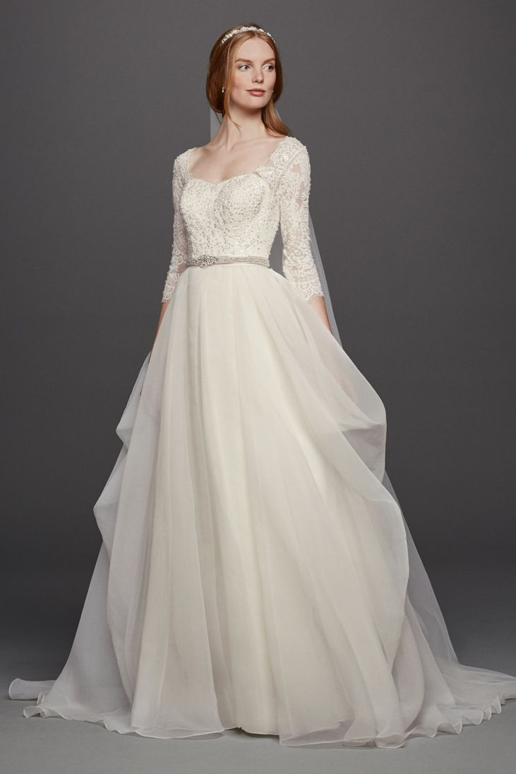 33 trendiest a line wedding dresses everafterguide for Wedding dress designer oleg cassini