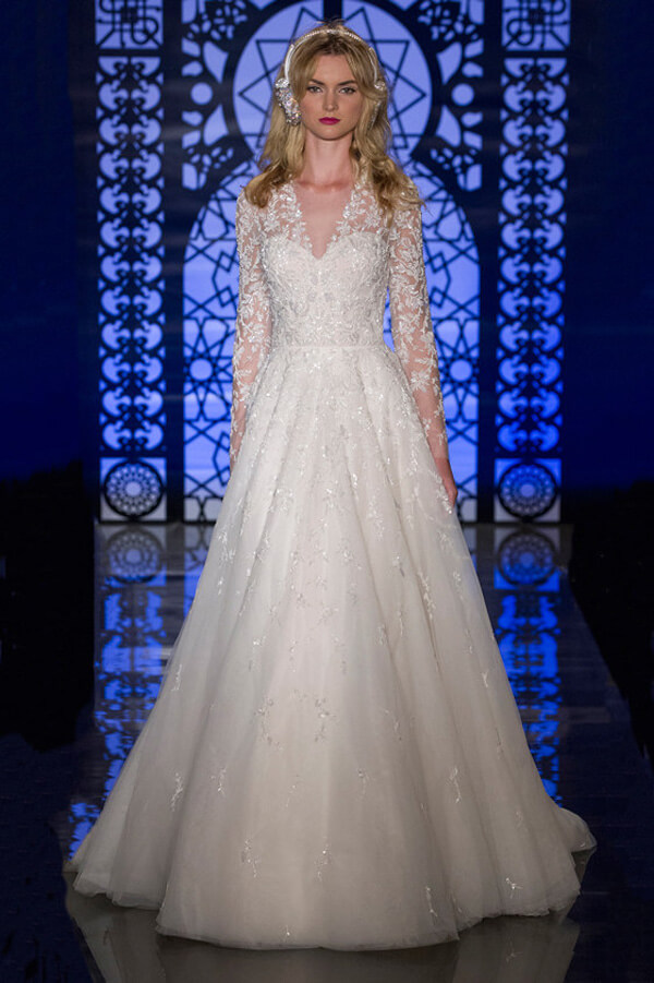 v neck long sleeve wedding dresses