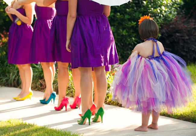 What color shoes to wear with purple dress for bridesmaids for What color matches with purple