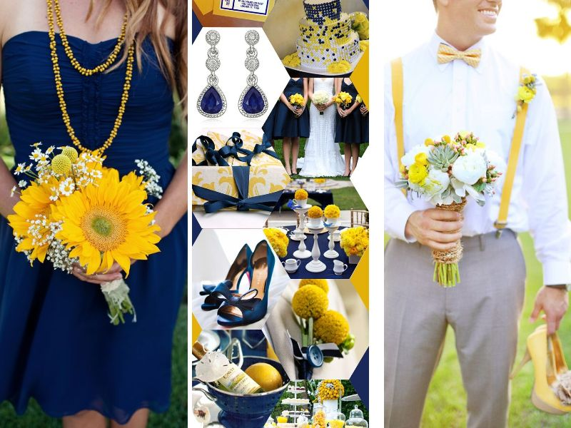 royal blue and canary yellow wedding cake inspirations for blue and yellow wedding colors 19345
