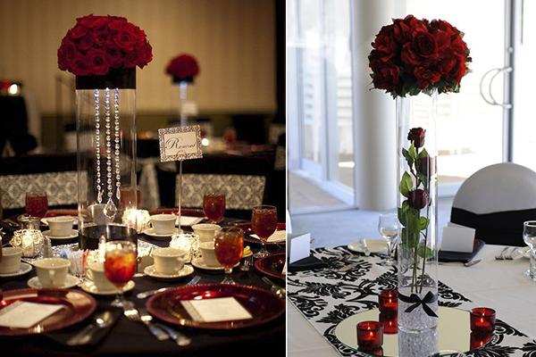 Wedding decoration ideas red white and black table